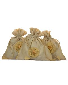 KolorFish Indian Vibrant & Designer, Traditional Chanderi Silk Potli for Party-Wedding-Festival Gifting/ Bridal Pouch/Bridesmaid gifting/ Jewelry Pouch/ Coin Pouch/ Make up bag (Set of 5)