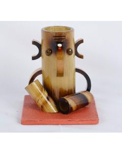 Bamboo Wooden Polished Pen Pencil Desk Stand with 3D Bamboo Ganesha